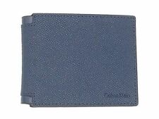 $95 CALVIN KLEIN MEN CK BLACK BLUE LEATHER BIFOLD 6CC CREDIT CARD ID WALLET