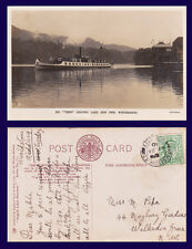 UK CUMBRIA S.Y. TERN LEAVING PIER REAL PHOTO 1910 TO MISS PIKE, WILLESDEN LONDON