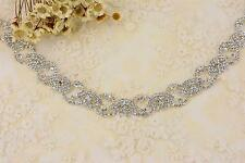 Rhinestone Wedding Dress Trimming Crystal Motif Beaded Crystal Applique Chain