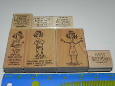 Stampin Up Words by Wanda Stamp Set of 7 Funny Woman's Sayings Hippie Humor