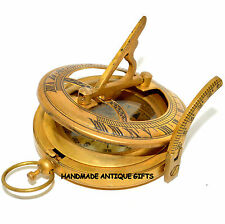 Brass Compass Military or Ships Nautical Pocket Watch Style Sundial Compass