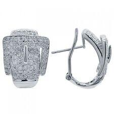 14K WHITE GOLD 2.23C PAVE DIAMOND BELT BUCKLE OMEGA BACK EARRINGS
