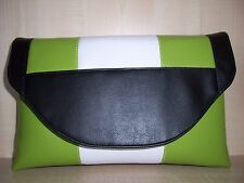 OVER SIZED  LIME GREEN, BLACK & WHITE faux leather clutch bag, fully lined