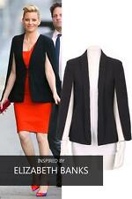 New Womens Cape Blazer With Collar Open Front Long Sleeves 8-16