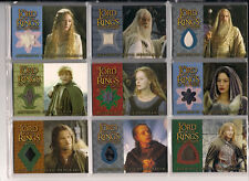 LOTR FOTR TTT TWO TOWERS Complete 9 Costume Card Set