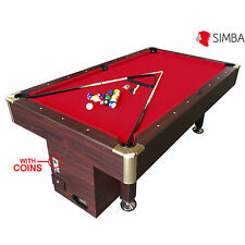 7 Ft Pool Table Billiard with coin machine for public places Red Cloth Ares