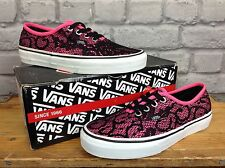 Vans femmes uk 4 eu 36.5 rose noir authentique dentelle baskets rrp £ 51.99