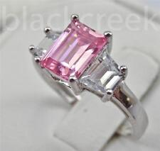 3tc. Pink & White C.Z. 925 Sterling Silver 3-Stone Engagement Ring Size 10