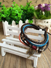 PU plaited leather bracelet w/ Anime Fairy tail Magic association metal pendant!