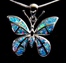 Silver 925 Filled Pendant & Necklace Rainbow Lab Fire Opal LARGE BUTTERFLY 1""