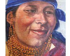 Authentisches Portrait Indio Indigene Frau Peru 50 - 60er Ölgemälde Top Rahmen