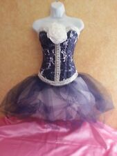 DENIM & DIAMOND TIE DYE BONED CORSET NAVY TULLE TUTU SKIRT BRIDAL WEDDING DRESS