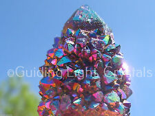 ONE RARE STARBRARY TITANIUM RAINBOW AURA SPIRIT CACTUS QUARTZ CRYSTAL POINT! SM