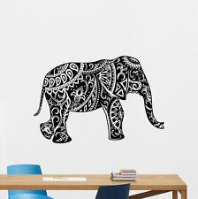 Indian Elephant Wall Decal Mehndi Ornament Yoga Vinyl Sticker Decor Art 105aaa