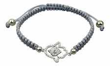 Hamsa Silver Plated Protection Bracelet with Czech Crystals - High Quality