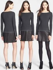 THEORY 'Keiran' Black Leather Trim Knit Long Sleeve Dress Size Medium $435.
