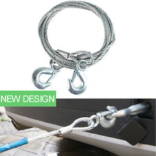 Car Vehicle Emergency Towing Steel Wire Rope Tow Trailer Strap Cable Hooks 4m