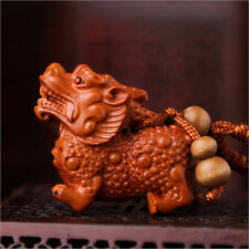 PIXIU Ornaments Carved Wooden Crafts, Key Chain, Key Ring. BZS028 貔貅钥匙扣