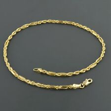 10K YELLOW GOLD 2.3MM DE VINCI ROPE CHAIN 10 INCH ANKLET FREE SHIPPING