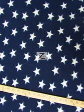 "AMERICAN POLAR FLEECE FABRIC - Blue Small White Stars - 60"" WIDTH SOLD BTY 541"