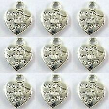 "25 x TIBETAN SILVER ""MADE WITH LOVE"" CUORE CHARM A0109"