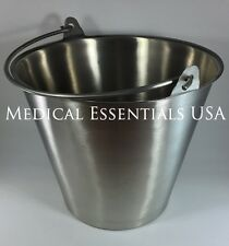 6 Stainless Steel Buckets Pails 13 Qt. Quart Heavy Duty Medical MRI Durable