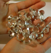 a vintage Crystal Glass Prism strand chain Lamp Chandelier Part brass octagons