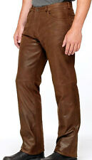 Men's Vintage Cowhide Leather Levi's 501 Style Tan Color Pants Trouser