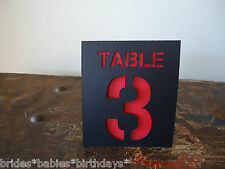 Kraft Black Red Table Numbers 1 to 10 Tent Style Wedding Birthday Party Decor