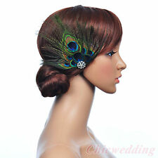 Vintage Peacock Feather Bridal Hair Flower Rhinestone Fascinators Hairclips