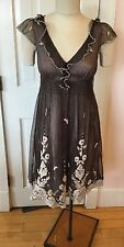 Anthropology Lithe 4 XS Gray Lined Ivory Embroidery Netting Dress