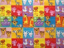 ~FLANNEL~ Noahs Ark~Animals~Bright~Childrens~Quilting~Fabric~Flannelette~Baby~FQ