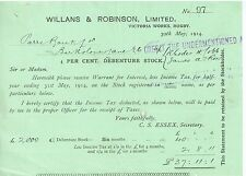 1914 Willaims & Robinson Rugby Stock Dividend Certificate