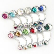 Lot of 10 pcs 14G Double Gem Belly Button Body Jewelry Piercing Navel Ring D6z10