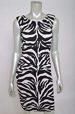 New Bailey 44 Black & White Zebra Animal Sheath Pencil Stretch Dress sz M