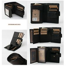 Black Men's Genuine Leather ZIPPER Wallet Purse ID Credit Card Holder Billfold