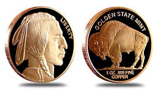 3 New - Buffalo Nickel Coins • 1 oz each .999 Copper Bullion • Indian / Buffalo