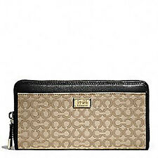 NWT Coach Madison Needlepoint Op Art Zip Around Wallet in Khaki/Black #49614
