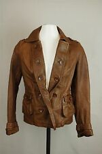 Anthropologie Womens Brown Idra Button Front 100% Leather Jacket SZ XS