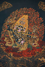 "LOUXIOUS QUALITY! 50"" EMBROIDERED BROCADE SCROLL THANGKA: STAR HUNTER RAHULA"