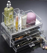 Clear Acrylic Cosmetic Jewelry Display Makeup Organiser Box Case Storage Drawers