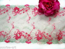 """DN533- 8""""  Embroidered Tulle Mesh DOUBLE SCALLOPED Lolita Lace Trim by Yard"""