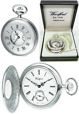 Woodford Sterling Silver Half Hunter Pocket Watch Swiss Mech Free Engraving 1067