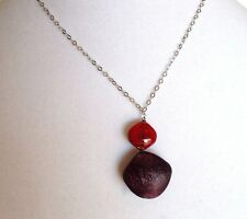 Antica Murrina Satin 2-Murano Glass Necklace And Sterling Silver Chain