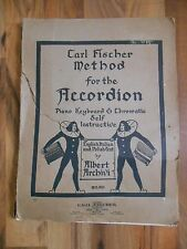 Antique 1917 Carl Fischer Method for Accordian Piano Keyboard self instructive
