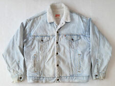 Vintage Levis Light Blue Denim Sherpa Lined Jean Jacket Mens Large Made In USA