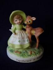 Vintage Figurine  George Good-LITTLE GIRL WITH DEER-Togetherness is Happiness