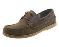 Mens Boys Seafarer Yachtsman Brown Khaki Leather Boat Deck Shoes Sizes 7-12