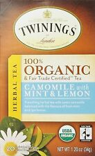 Camomile Tea with Orgainic Mint and Lemon, TWININGS TEA, 20 tea bag 1 pack
