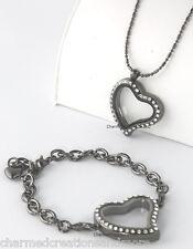 SECURE CLASP Crystal Heart Gunmetal Floating Charm Locket Bracelet Necklace Set